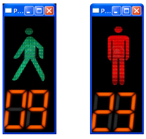 Output of Pedestrian Signal Light Simulation with Countdown Clock