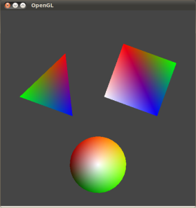 OpenGL Template: Scene 3 (Rotating 3D Shapes with Blended Colours)