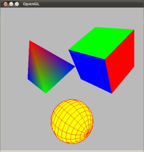 OpenGL Template: rotating 3D pyramid, cubes and wireframe sphere